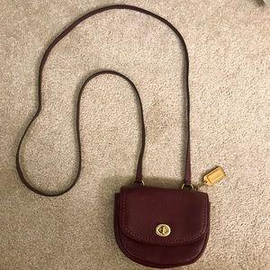 Coach small maroon cross body or shoulder purse